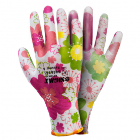 Перчатки ТМ Sigma трикотаж с частичным ПУ покрытием р8 (белые манжет) 1/12, 9446381-0621 фото