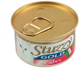 1065705 STUZZY Gold Cat КУРИЦА кусочки (chicken cube) мусс корм для кошек, банка, 85 г, C434E фото