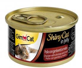 Гімкет ШайніКет - консервований корм для котів усіх порід. З куркою креветками та мальтом, 70 г, 413273 фото