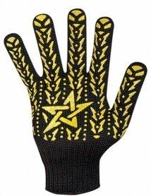 Перчатки с ПВХ Звезда черная желтая, 562 фото