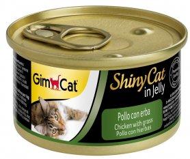 413266 Гимкет ШайниКет консервированный корм для кошек всех пород, курица и трава, 70 г фото