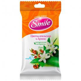 Салфетка влажная, цветы апельсина и аргана, Smile Daily, 15шт, 42224230 фото