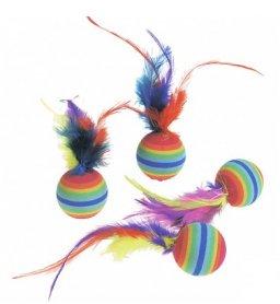 502203 Karlie Flamingo RAINBOWBALLS радуга перья на мячике, спонж, игрушка д/котов 3 см, 1 шт фото