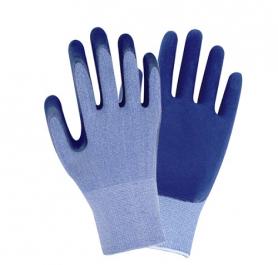 Перчатки ТМ Sigma трикотаж с частичным латексным вспененным покрытием кринкл р9 ( синие манжет) 1/12, 9445491-4878 фото