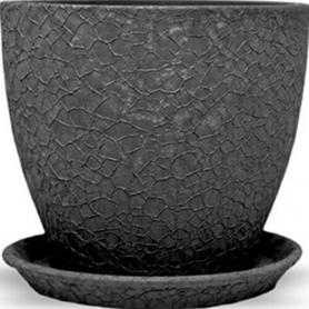 Горшок Магнолия, 13х15х1,3, шелк, черный, керамика, 10921541 фото