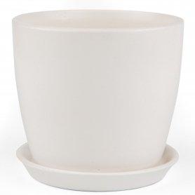 Горшок Сонет, 10х10х0,5, белый лак, керамика, 265111 фото
