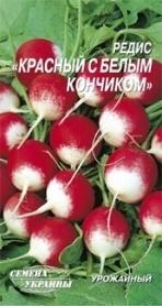 Семена редиса Красный с белым кончиком, 3г, Семена Украины фото